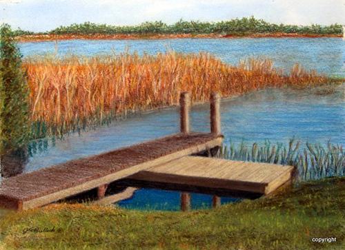 John Bullock, Gone Fishing Again, pastel, 10.25 x 14, $350