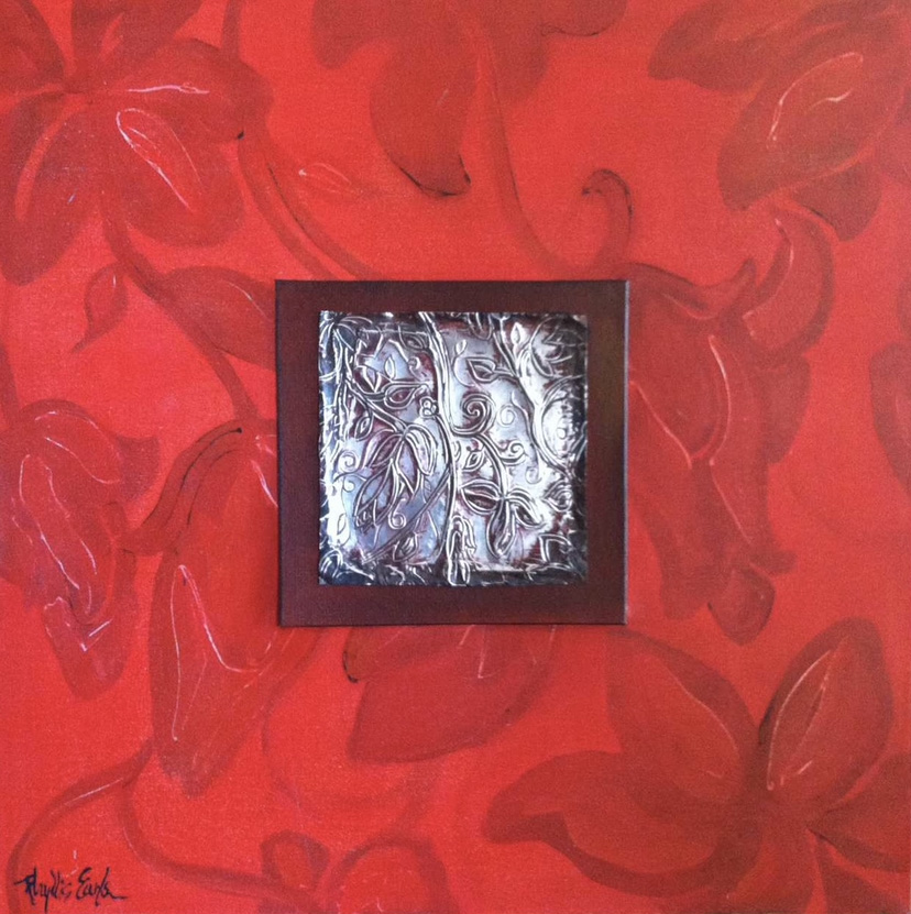 Phyllis Earls, Red Vine, acrylic pewter, 24x24, $300
