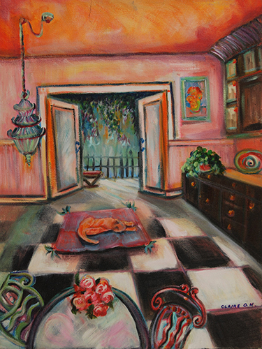Claire Harkins, Lucy's Kitchen, oil, 18x24, $425