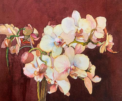 Charlotte Peterson, Call it Orchiderlerium, watercolor, 17x18, $450