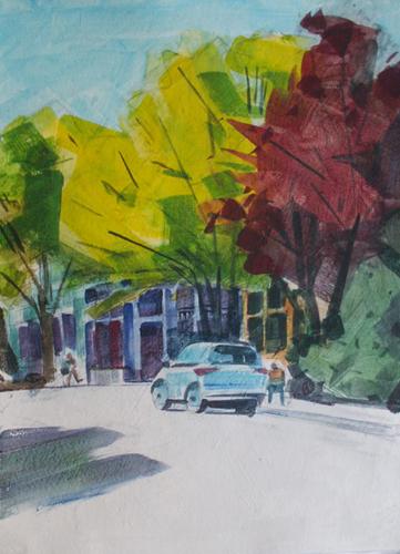 Desmond Serratore, 4th & A St., Ashland, watercolor, 11x15, $150