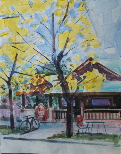 Desmond Serratore, Roasters Coffee 112, watercolor, 11x14, $150