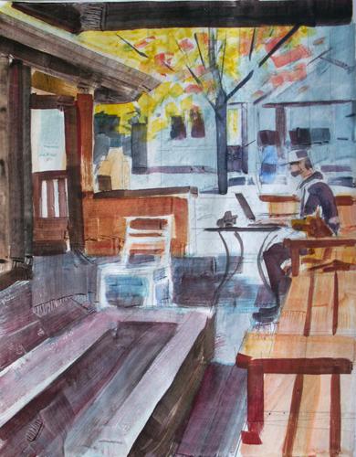 Desmond Serratore, Roasters Patio 111, watercolor, 11x14, $150
