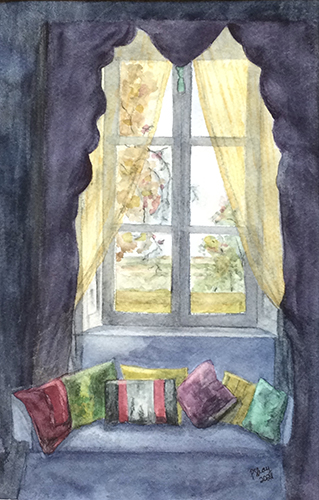 Pam Shay, The Window, watercolor, 18x14, $200