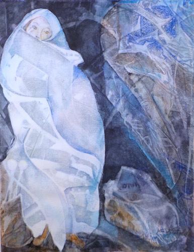 Cindy Triplett, Blue Cave, watercolor, 24x20, $400