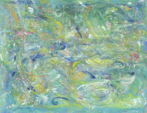 Mary Joette Vannice, Fantasy in Blue & Green, pastel, 33x22, $1,250