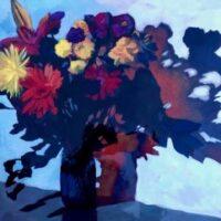 Annekatrine Harrington, Tango Flowers, acrylic on panel, 16x20, $500