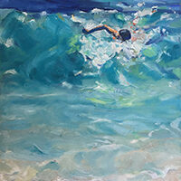 Mary Hills, untitled (swimmer), oil, 13x17, $200