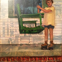 Jenny Kahn, 1927 Flood; New Orleans, LA, oil, collage, 12x16, $700