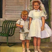 Jenny Kahn, First Communion; New Orleans 1955, oil, collage, 12x16, $700