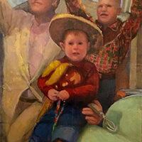 Jenny Kahn, Mardi Gras Parade; NOLA, oil, collage, 12x16, $700