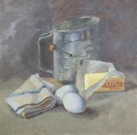 Jean Mailander, Baking Day, oil, 12x12, $225