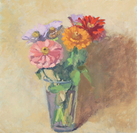 Jean Mailander, Zinnias, oil, 12x12, $225