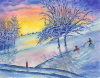 Cristolin Oswald, Sledding the Sunset, watercolor, 11x15, $165