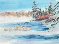 Cristolin Oswald, Winter Shapeshifter, watercolor, 11x15, $165