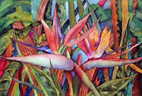 Charlotte Peterson, Paradise in the Jungle #2, watercolor, 17x13, $400