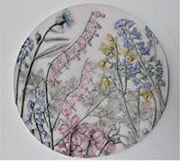 Janet Ratnour, Rejoice, bas-relief plaster cast, 14 round, $195