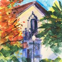 Desmond Serratore, Church at Alba Park, watercolor, 1x14, $150