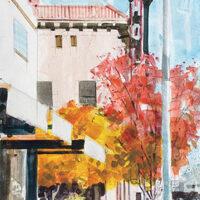 Desmond Serratore, Holly Theater, watercolor, 1x14, $150