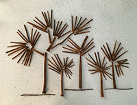 Darlene Southworth, Joshua Trees, assemblage, 28x22, $400