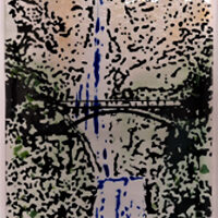 Jen Woodbury, Multnomah Falls, fused glass, 5x10, $130
