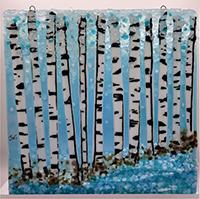 Jen Woodbury, Winter Birch, fused glass, 10x10, $145