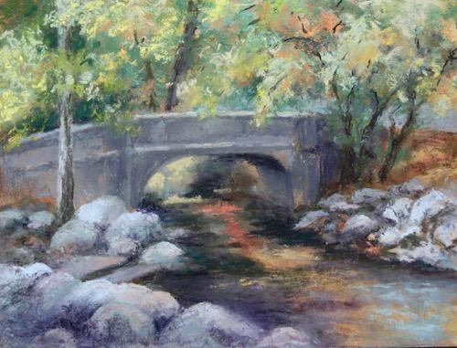 Marilyn Hurst, Ashland Creek Bridge, pastel, 9x15, $450