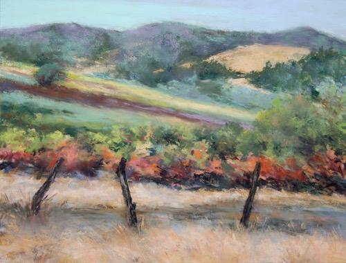Marilyn Hurst, Autumn Vineyard, pastel, 12x16, $495